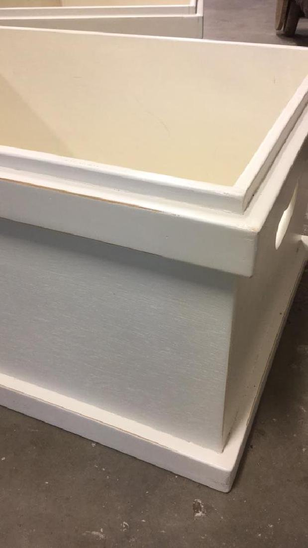 Pair Of Painted White Wooden Storage Boxes - 6