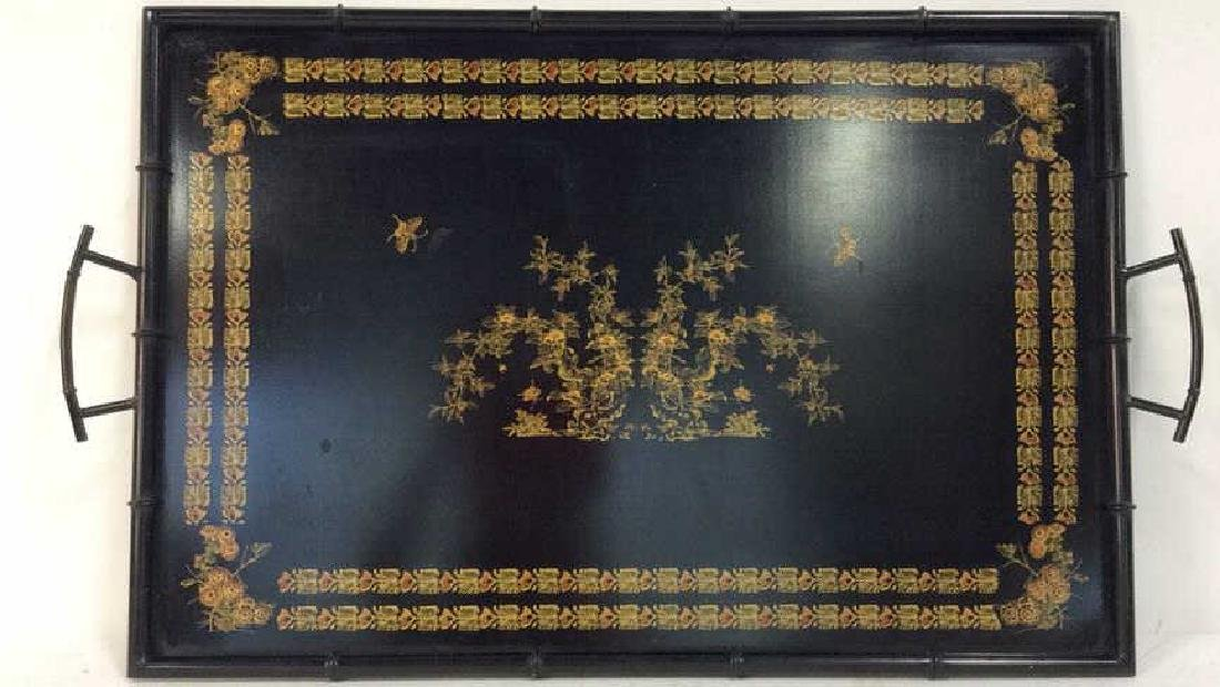 Black Metal Faux Bamboo w Gold Metal Tray