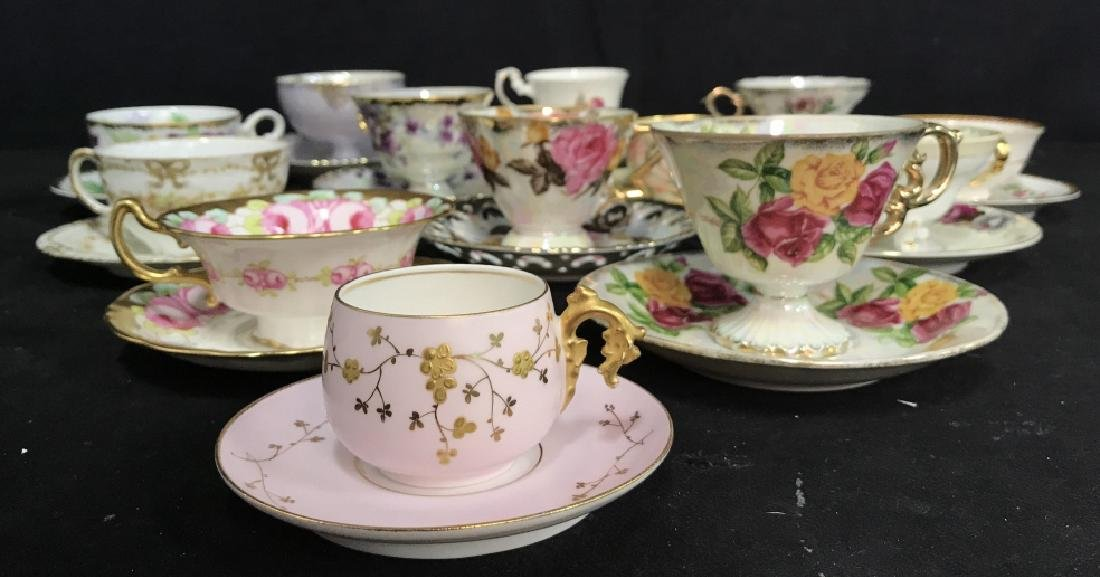 Group Lot 13 Assorted Fine China Teacups and