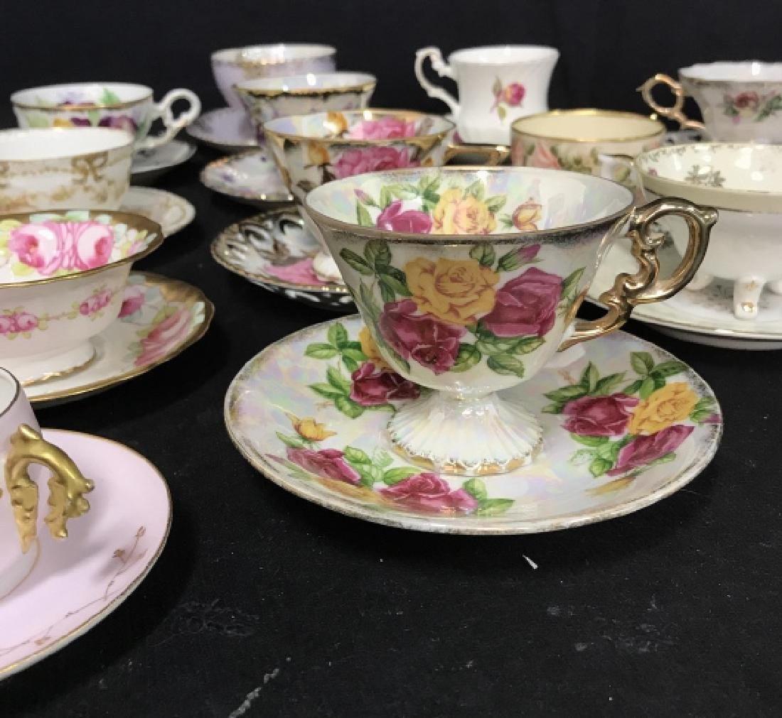 Group Lot 13 Assorted Fine China Teacups and - 2