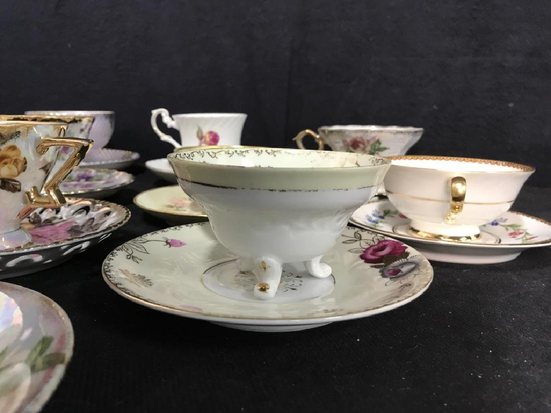 Group Lot 13 Assorted Fine China Teacups and - 4