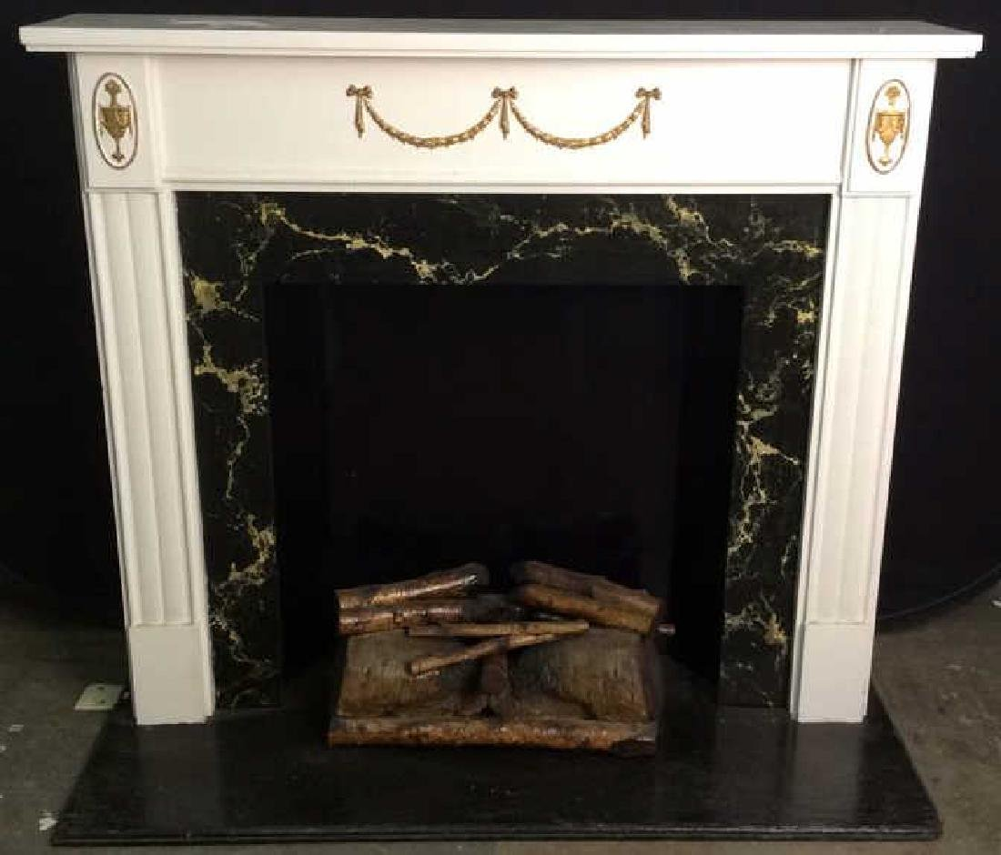 Wooden & Metal Faux Fireplace and Mantle