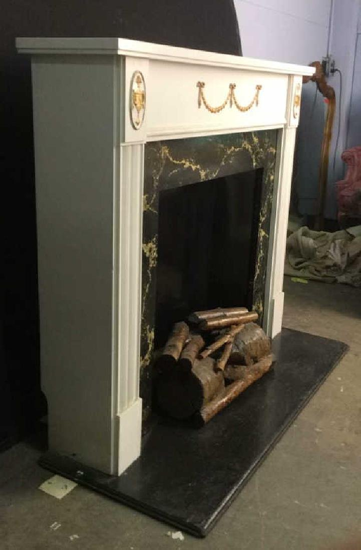 Wooden & Metal Faux Fireplace and Mantle - 2