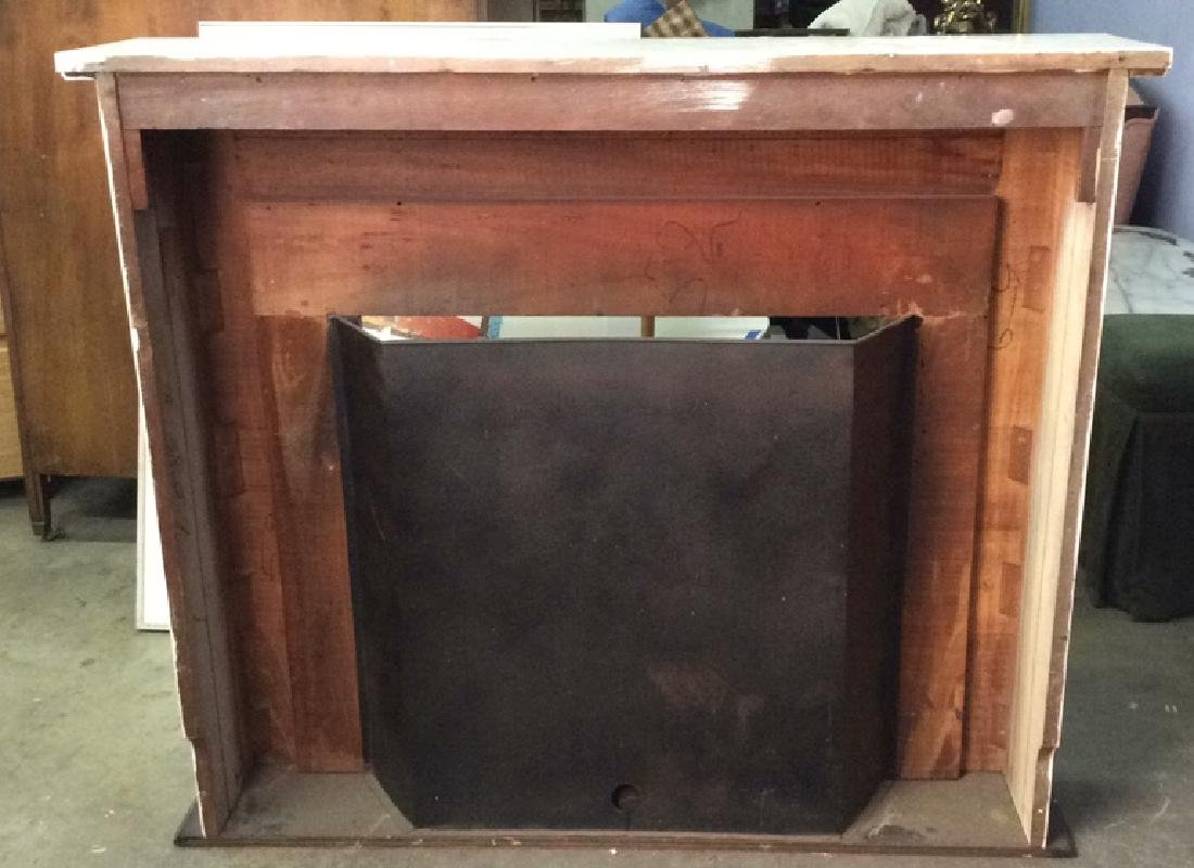 Wooden & Metal Faux Fireplace and Mantle - 7