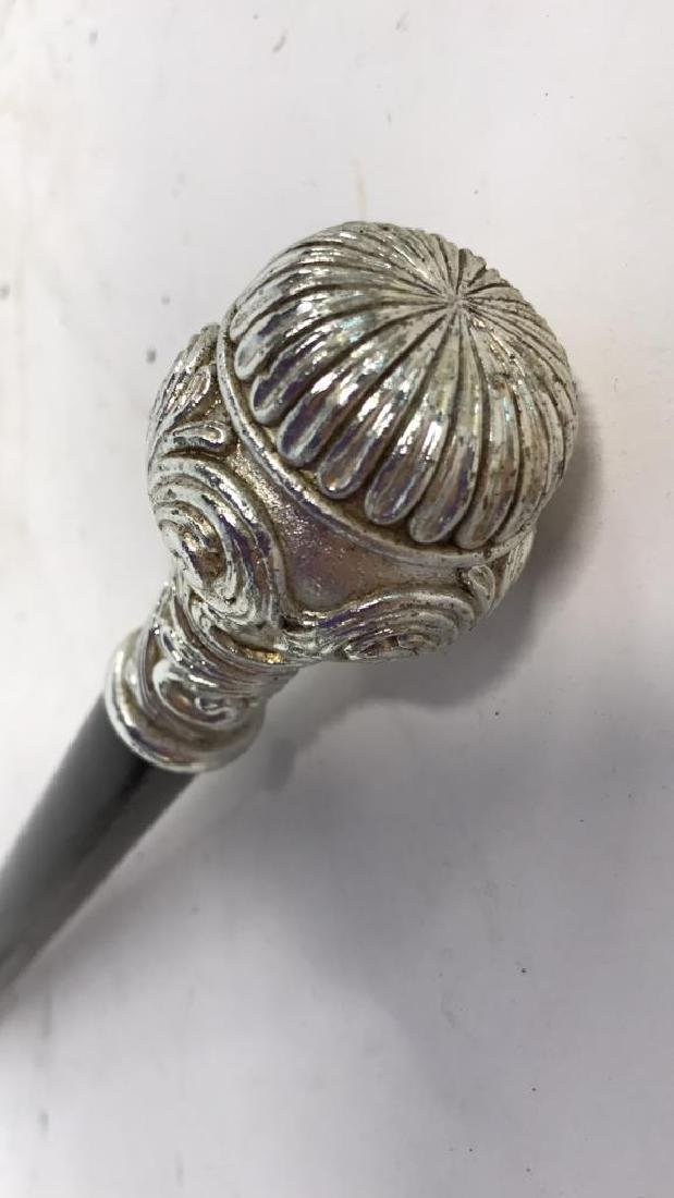 Silver Toned Topped Wood Cane - 3