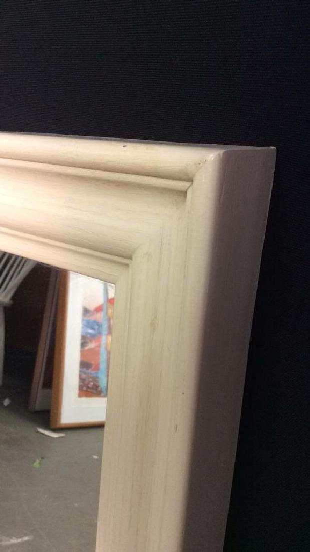 cream toned rectangular wooden frame mirror - 2