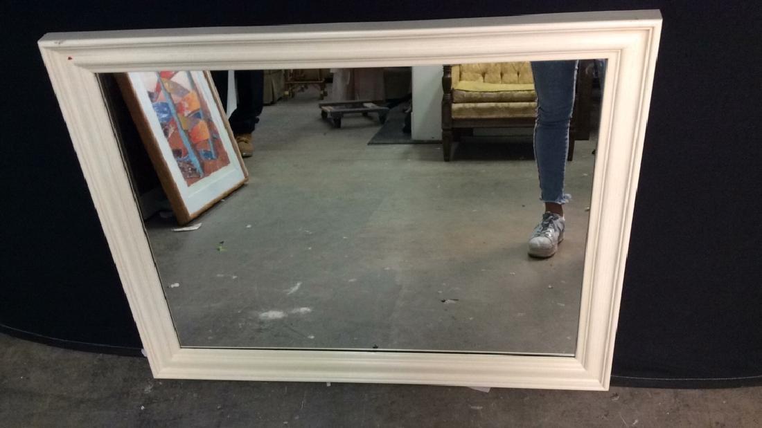 cream toned rectangular wooden frame mirror - 3