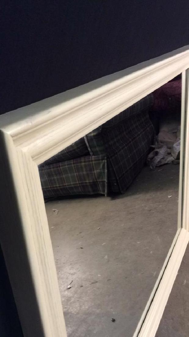 cream toned rectangular wooden frame mirror - 4
