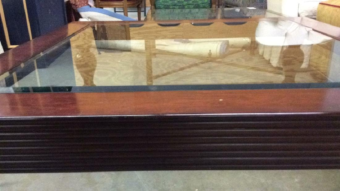D and D Building mahogany glass top coffee table - 5