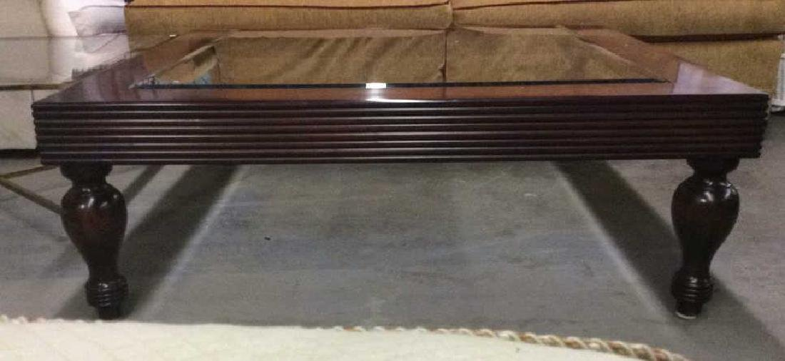 D and D Building mahogany glass top coffee table - 7