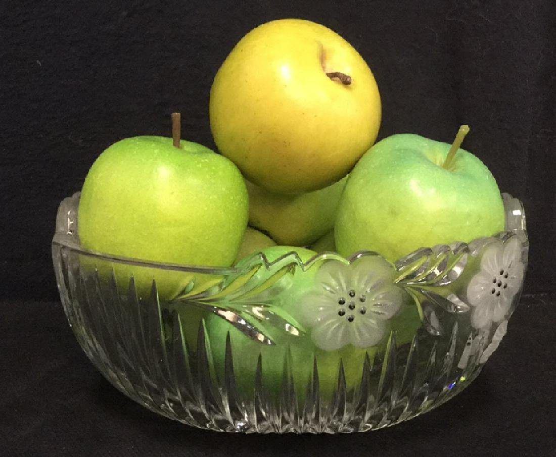 Lot 8 Cut Glass Bowl With Faux Green Apples