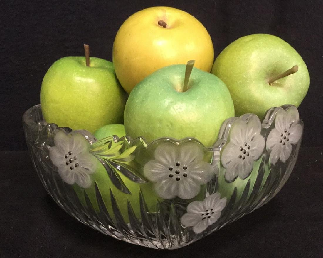 Lot 8 Cut Glass Bowl With Faux Green Apples - 2