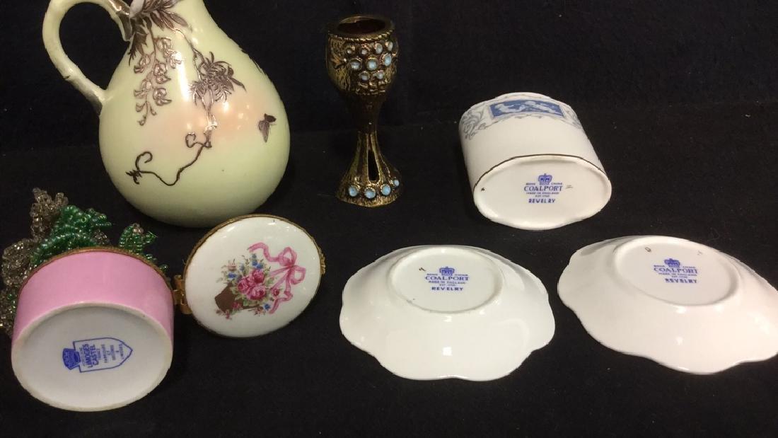 Lot 6 Porcelain Metal Tabletop Accessories - 2