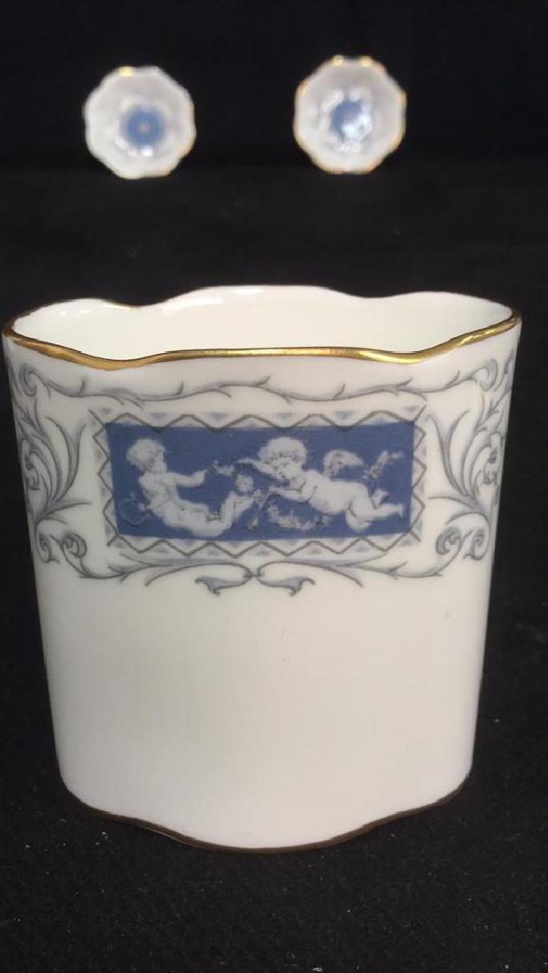 Lot 6 Porcelain Metal Tabletop Accessories - 8