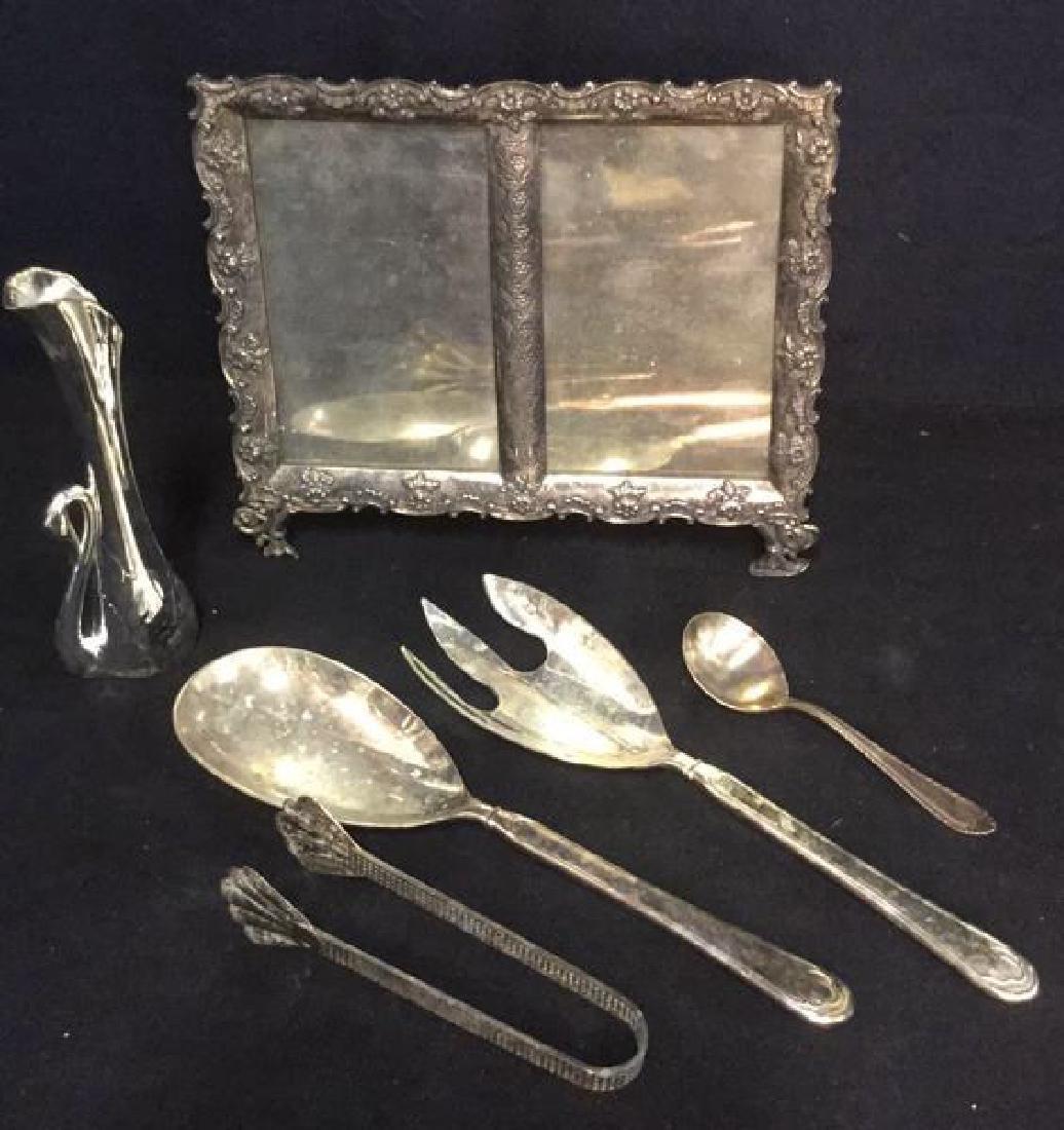 Lot 6 Silver Pl Picture Frame & Serving Utensils