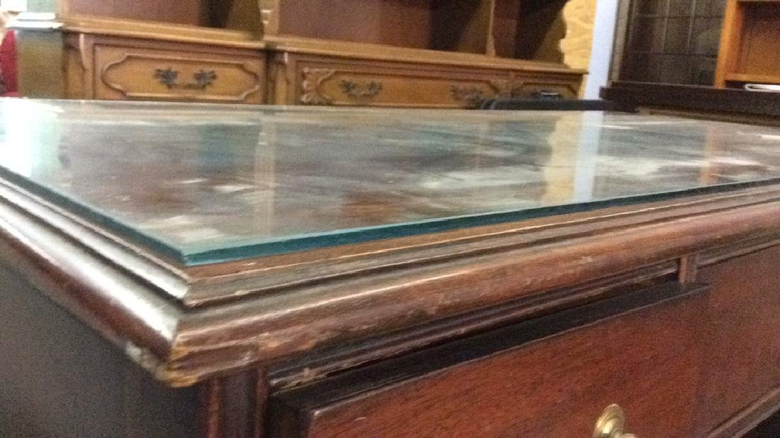 Mahogany toned glass top desk - 2