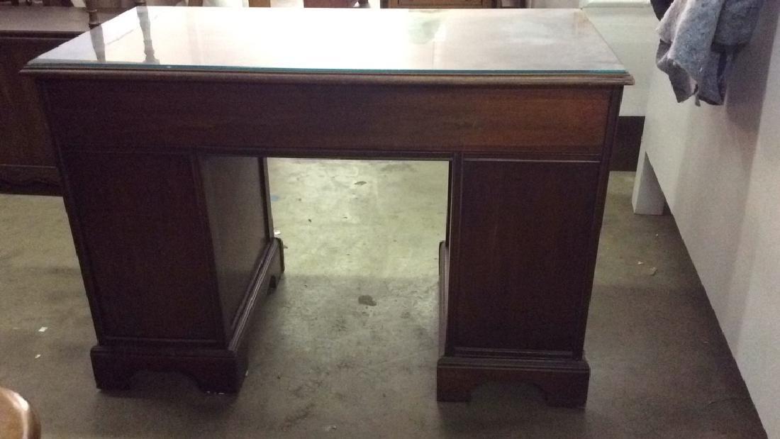 Mahogany toned glass top desk - 7