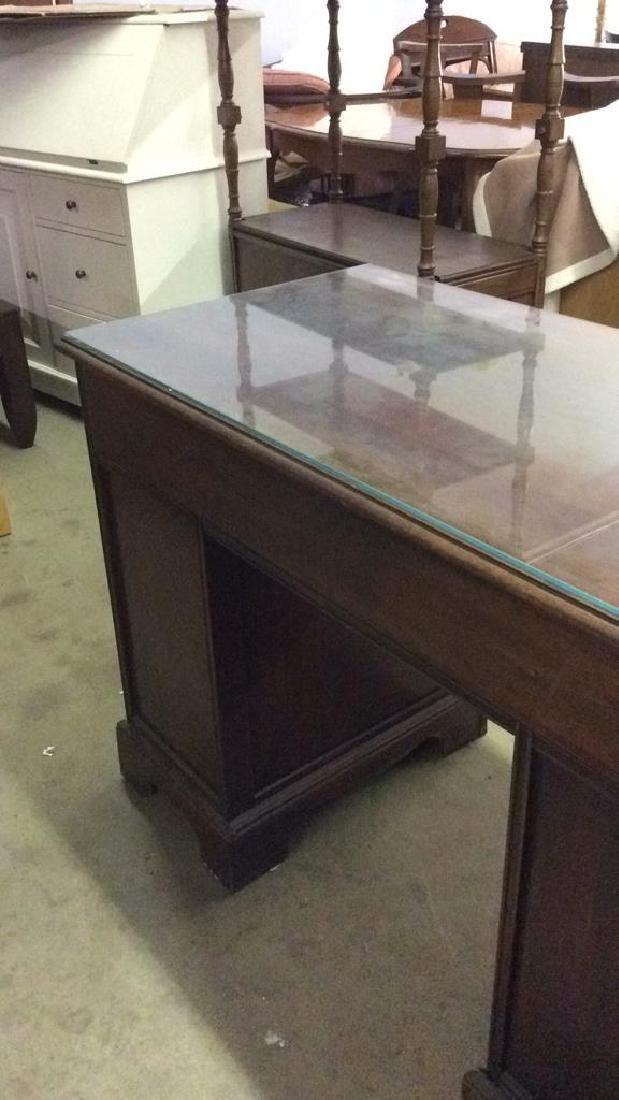 Mahogany toned glass top desk - 8