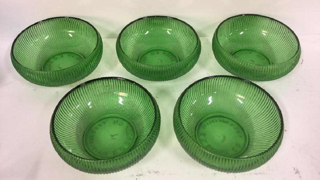 Set Of 5 Vintage E O Brody Co Green Glass Bowls