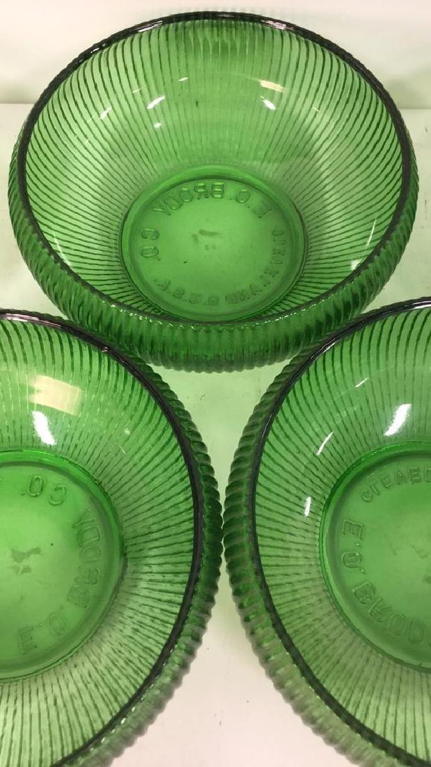 Set Of 5 Vintage E O Brody Co Green Glass Bowls - 3