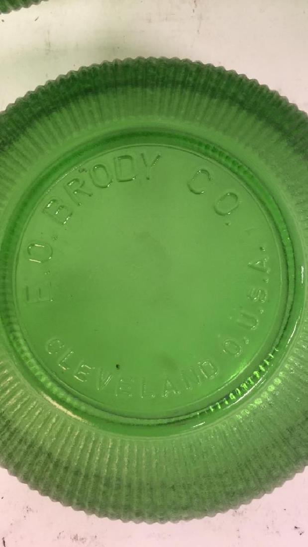 Set Of 5 Vintage E O Brody Co Green Glass Bowls - 4