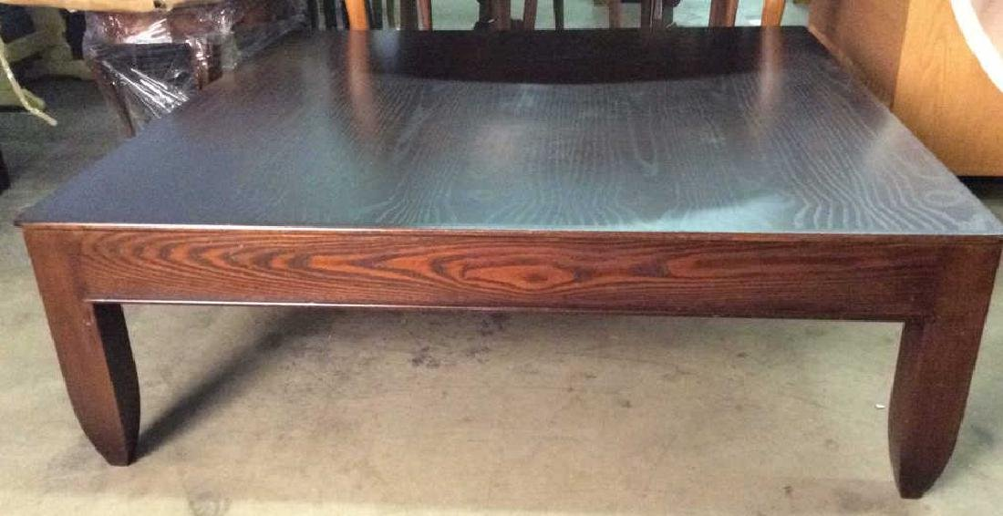 Mahogany Toned Square Shaped Wooden Coffee Table
