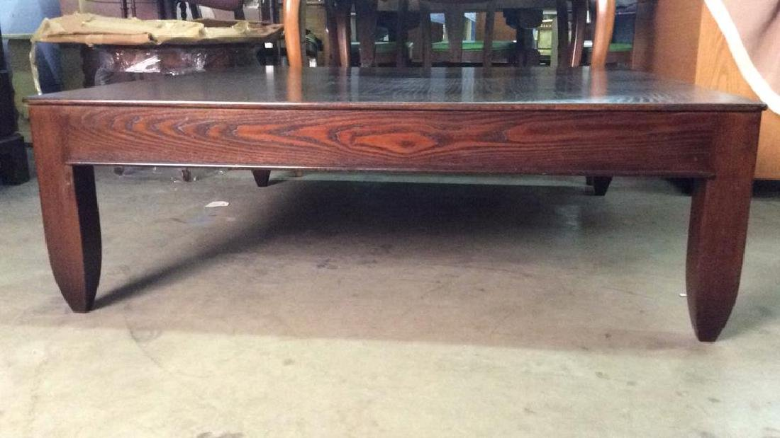 Mahogany Toned Square Shaped Wooden Coffee Table - 2