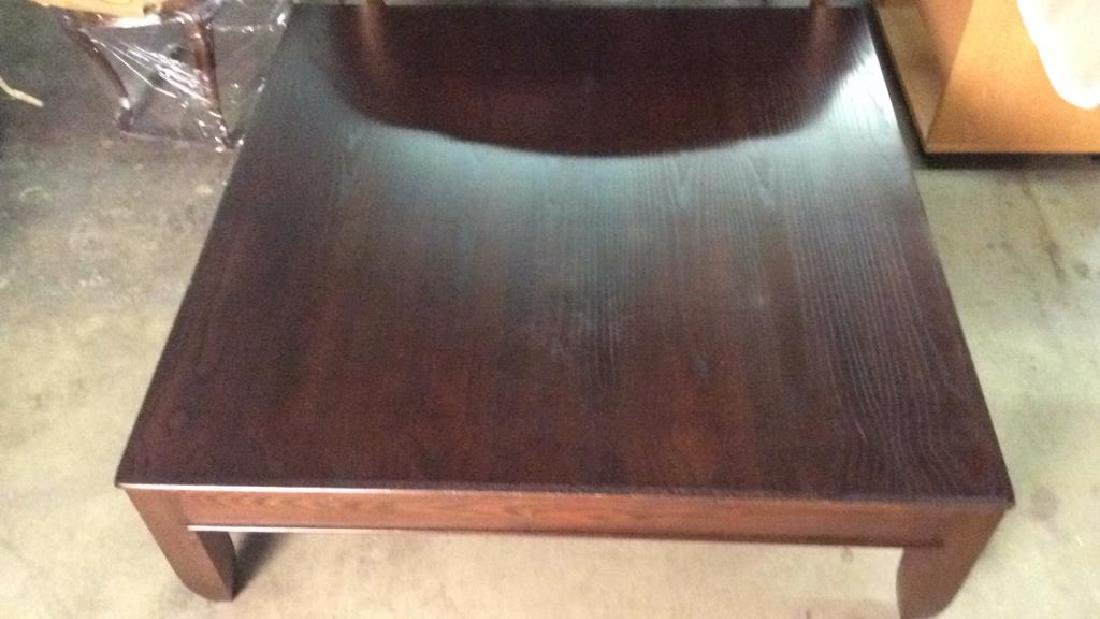 Mahogany Toned Square Shaped Wooden Coffee Table - 3