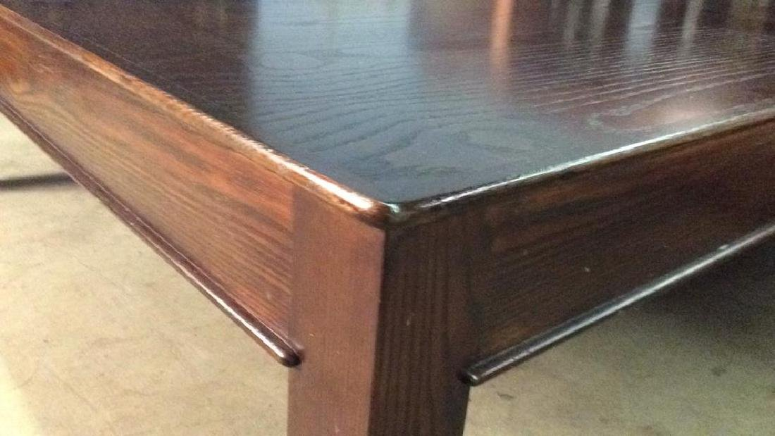Mahogany Toned Square Shaped Wooden Coffee Table - 4