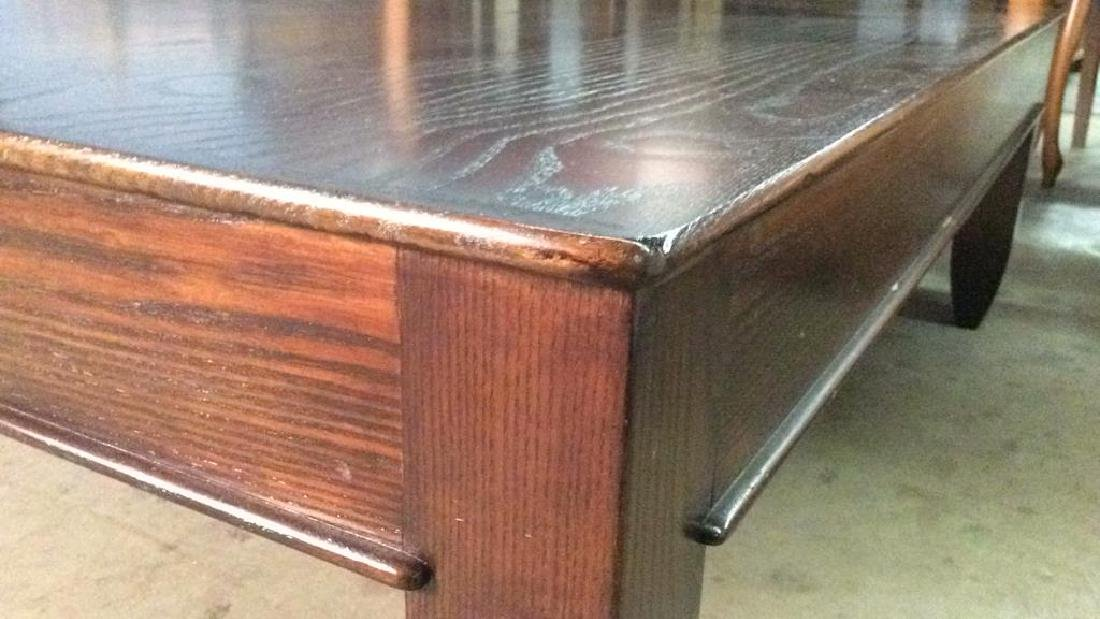 Mahogany Toned Square Shaped Wooden Coffee Table - 6