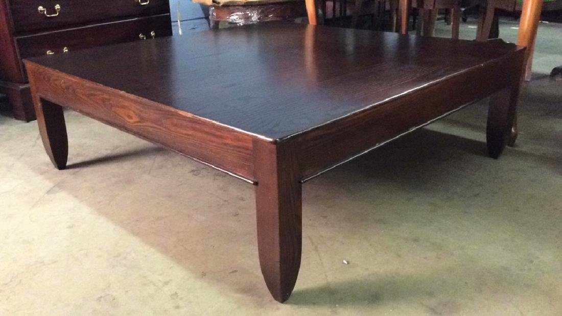 Mahogany Toned Square Shaped Wooden Coffee Table - 8
