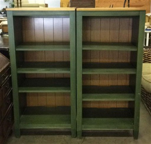 Pleasing 2 Ethan Allen Green Toned Bookshelves Set Download Free Architecture Designs Jebrpmadebymaigaardcom