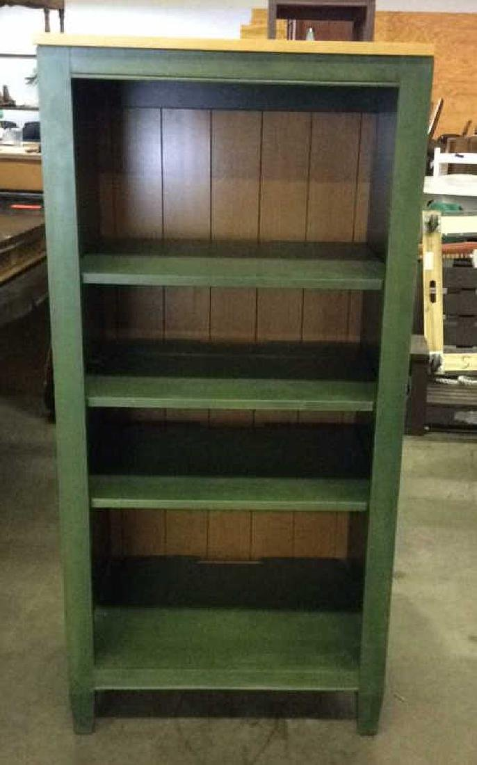 2 ETHAN ALLEN Green Toned Bookshelves Set - 6