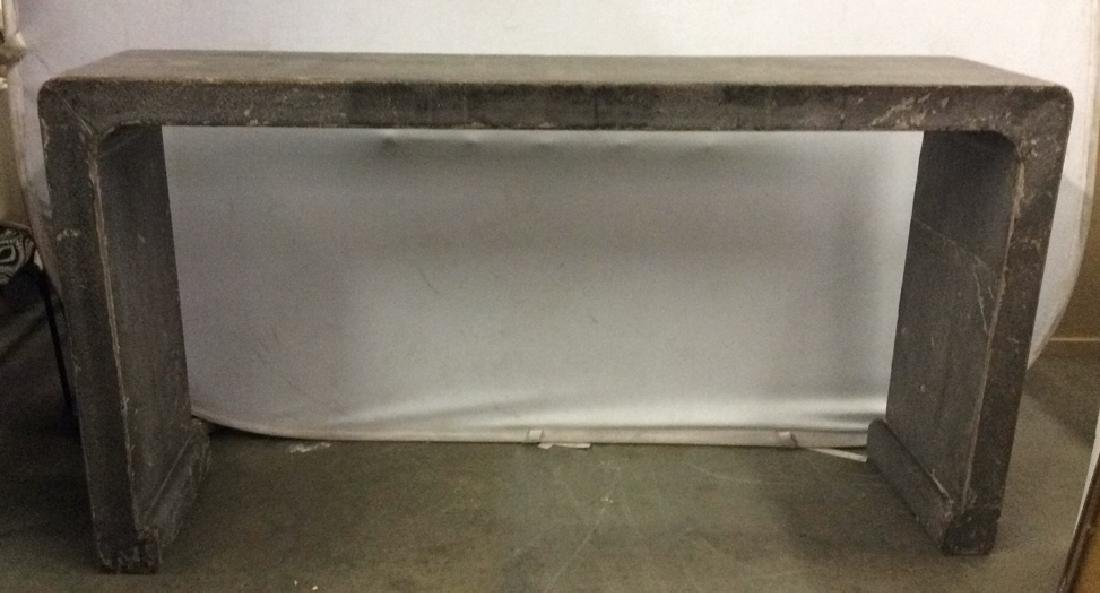 Wooden Silver Toned Console Table Waterfall Style