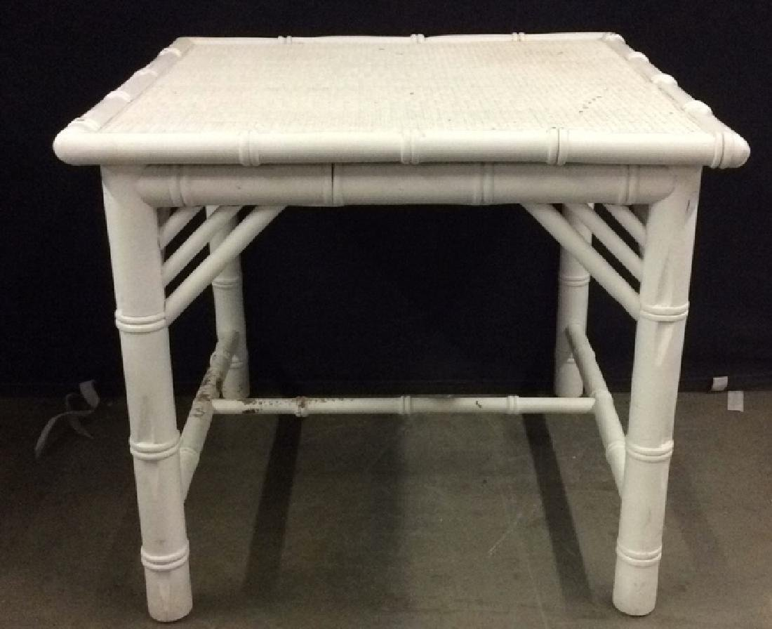 White Toned Wooden & Wicker Side Table
