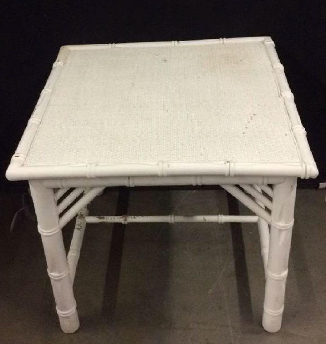 White Toned Wooden & Wicker Side Table - 2