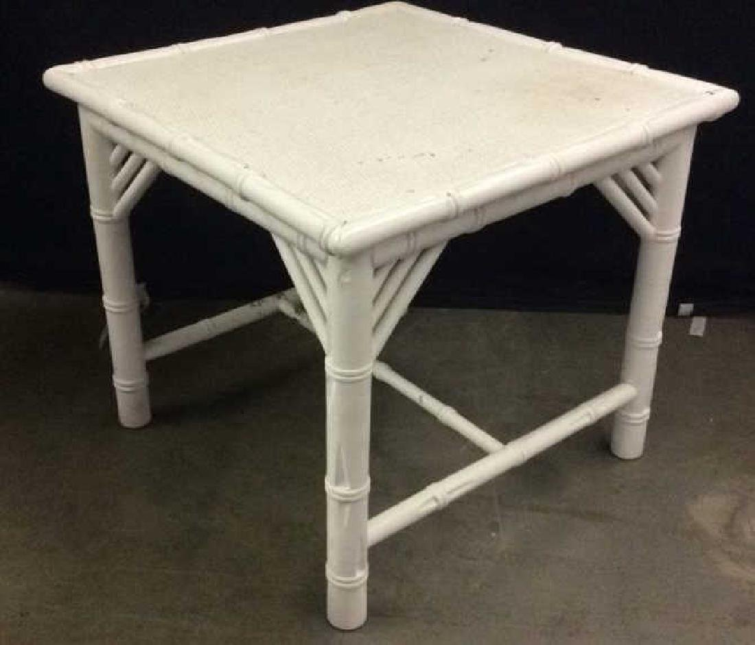 White Toned Wooden & Wicker Side Table - 3