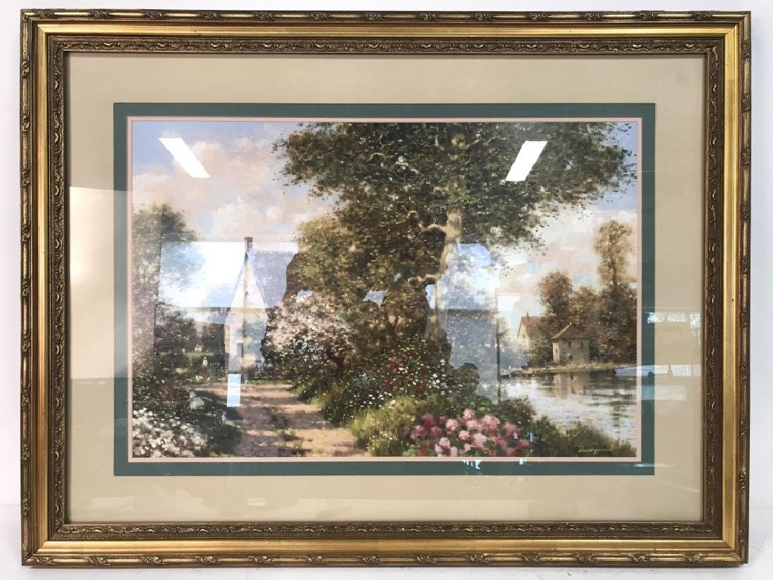 Art Print Painting of Cottages in Wooded Landscape