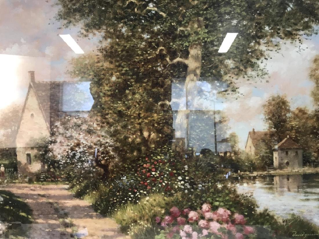 Art Print Painting of Cottages in Wooded Landscape - 2