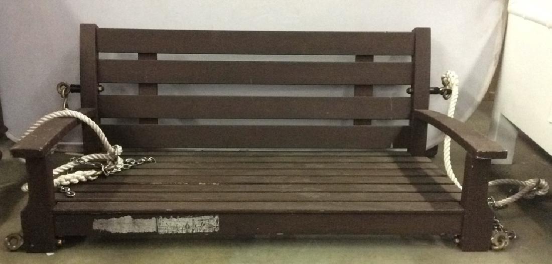 Dark Brown Wooden Hanging Swing Chair Bench