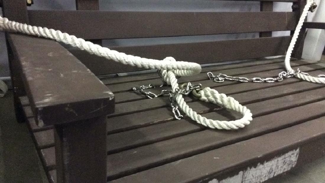 Dark Brown Wooden Hanging Swing Chair Bench - 3