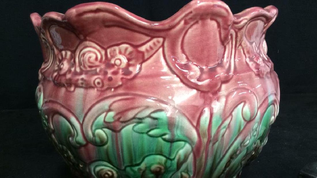 Pink and Green Glazed Weller Pottery Vase - 5