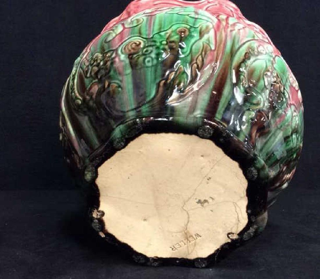 Pink and Green Glazed Weller Pottery Vase - 8