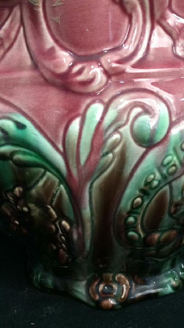 Pink and Green Glazed Weller Pottery Vase - 9