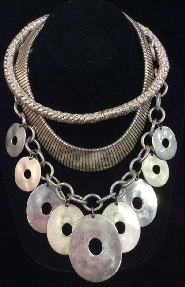 Lot 4 Assorted Silver Toned Metal Necklaces