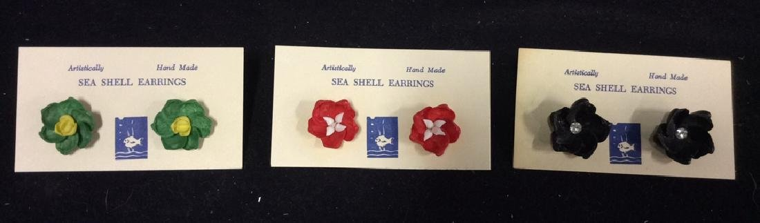 Group Lot 3 Vintage Hand Made Sea Shell Earrings - 2