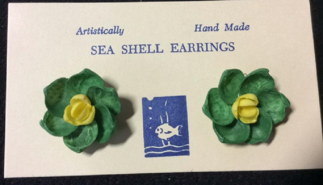 Group Lot 3 Vintage Hand Made Sea Shell Earrings - 5