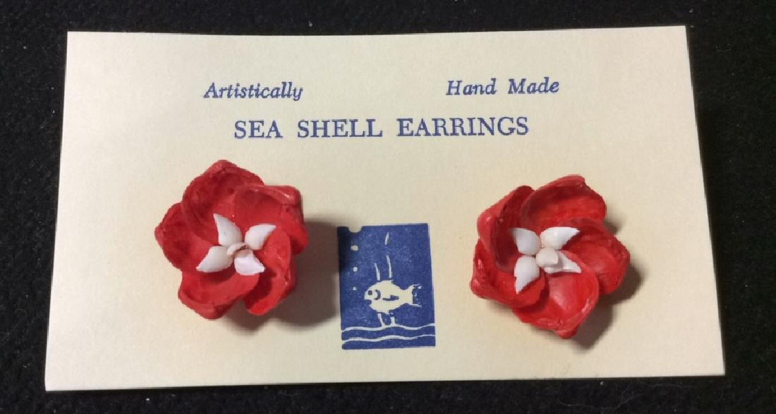 Group Lot 3 Vintage Hand Made Sea Shell Earrings - 6