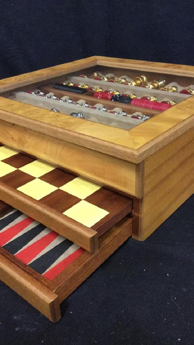 Chess Backgammon Wooden Game Box, Italy