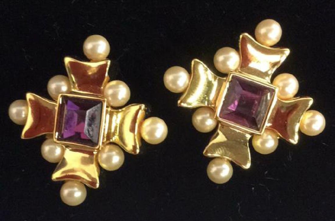 Lot 2 Gold Toned Vintage Designer Earrings - 2